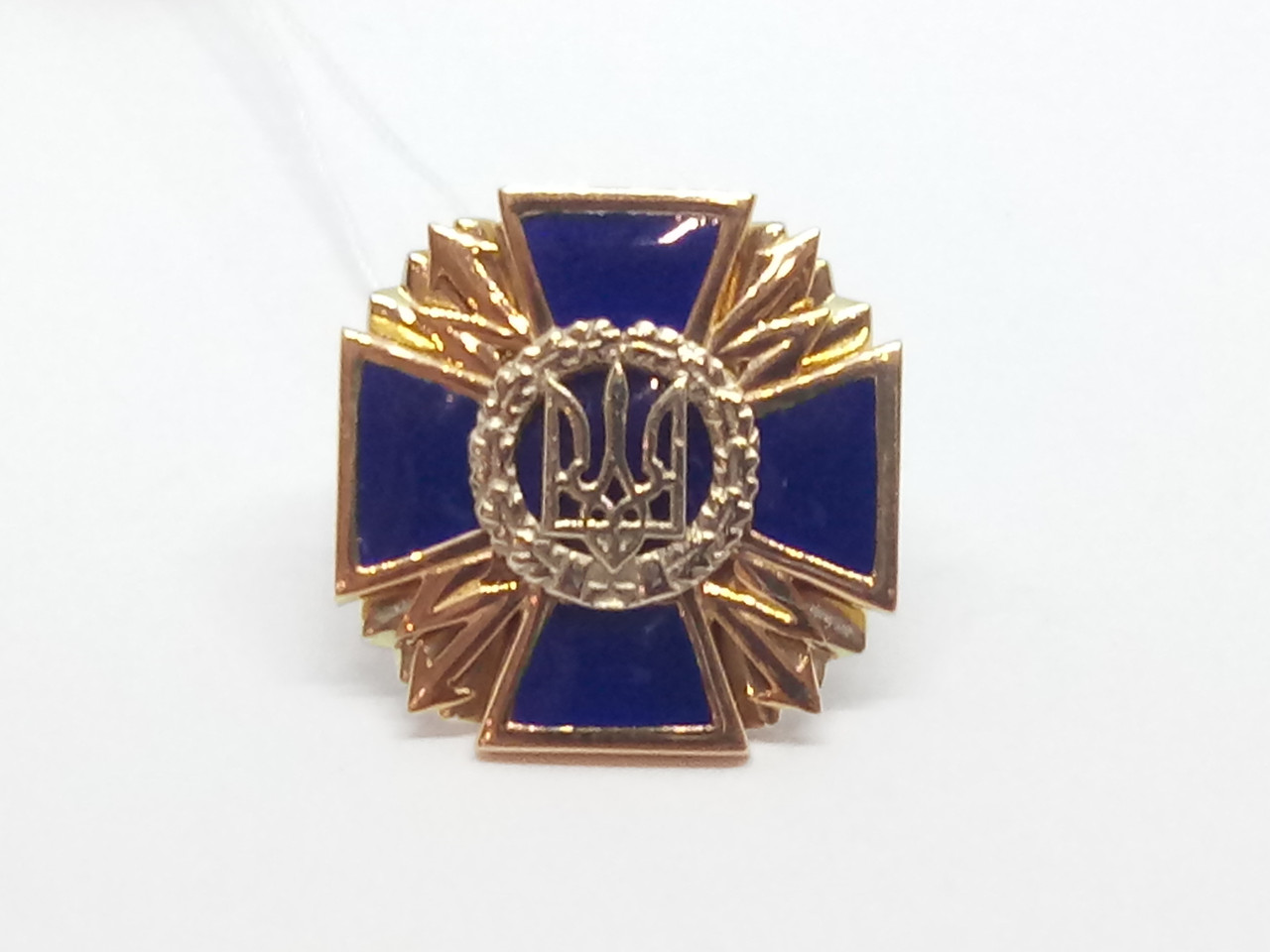 Золотой значок Трезубец. Артикул 160046