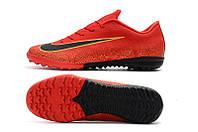 Футбольные сороконожки Nike Mercurial VaporX XII Academy TF Bright Crimson/Black/Gold, фото 1
