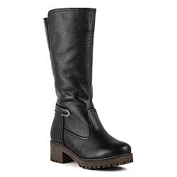 Полусапоги женские Gloria (черные, стильные, кожаные, модные)