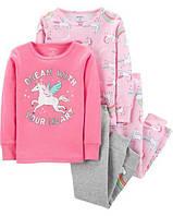 """Набор с двух пижамок 4 в 1 """"Единорог"""" Carter's для девочки розовый"""