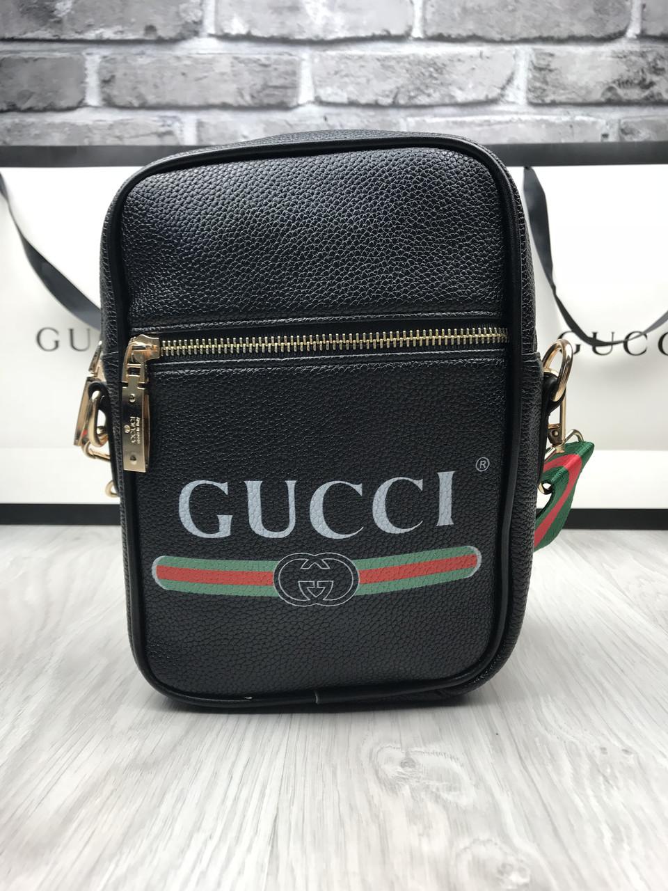 8e284ab39909 Сумка мужская через плечо планшетка брендовая Gucci черная копия высокого  качества - AMARKET - Интернет-