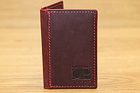 Чехол для пластиковых карточек (Card Case) из натуральной кожи марсалового цвета(14579)
