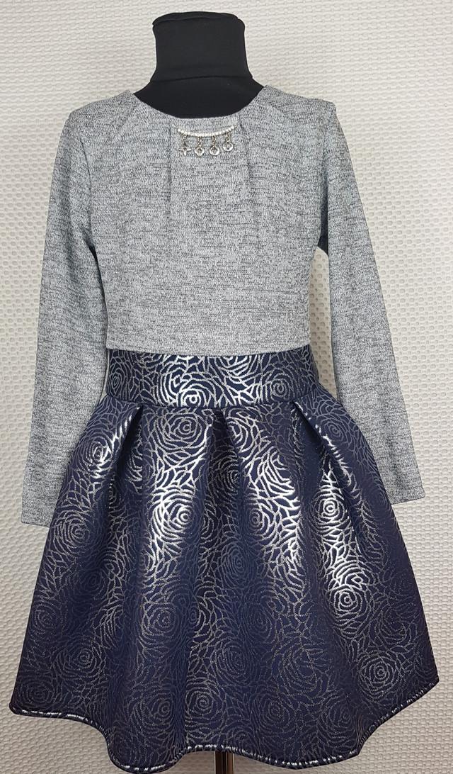 Платье Миранда в складку серый+темно-синий р.134-152 розы темно-синий