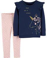 Набор кофта на флиссе с единорогом + розовие лосинки со звездами Carter's  для девочки 2Т/86-93 см