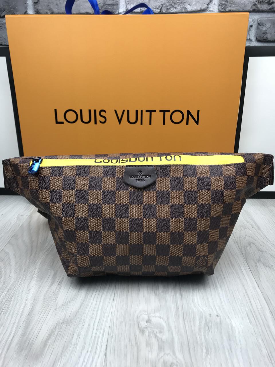 7c5fc0ab6000 Сумка на пояс бананка брендовая Louis Vuitton коричневая мужская женская  копия высокого качества - AMARKET -