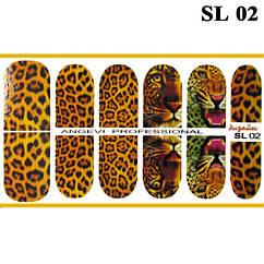 Наклейки для Ногтей Ноготки PhotonailArt Водные Разноцветные, Малая Пластина, Angevi SL 02