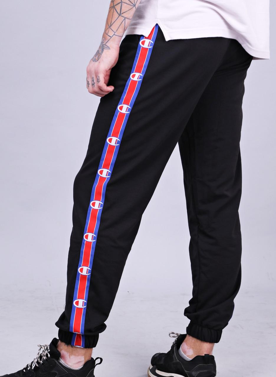 658b5858 Зимние спортивные штаны мужские черные модные с полоской Champion Чемпион -  Доберман шоп - уличный шмот
