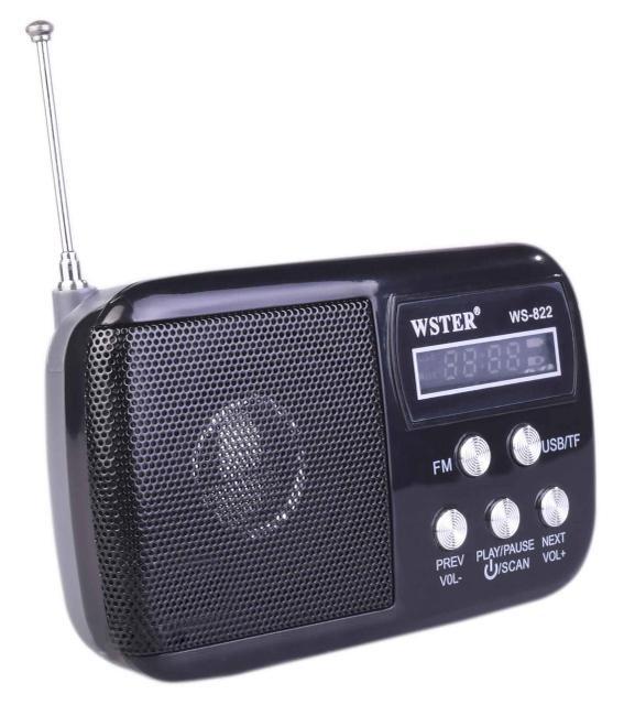 Портативный радиоприемник WS-822 USB AUX microSD