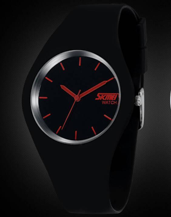 Skmei 9068 rubber  черные с красным женские классические часы