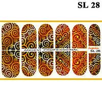 Наклейки для Ногтей Ноготки PhotonailArt Водные Разноцветные, Малая Пластина, Angevi SL 28