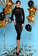 Классическое Силуэтное Платье Футляр с Сеточкой Черное S-XL, фото 1