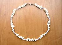 Бусы белый коралл, белый хрусталь 5_5_205