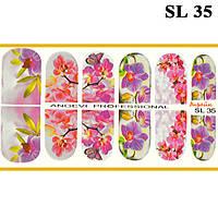 Наклейки для Ногтей Ноготки PhotonailArt Водные Разноцветные, Малая Пластина, Angevi SL 35