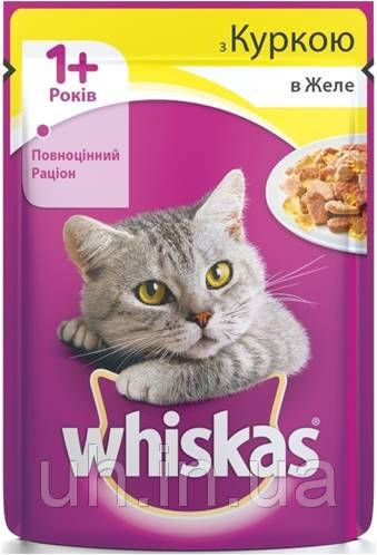 Whiskas влажный корм для кошек курица в желе 100гр*24шт