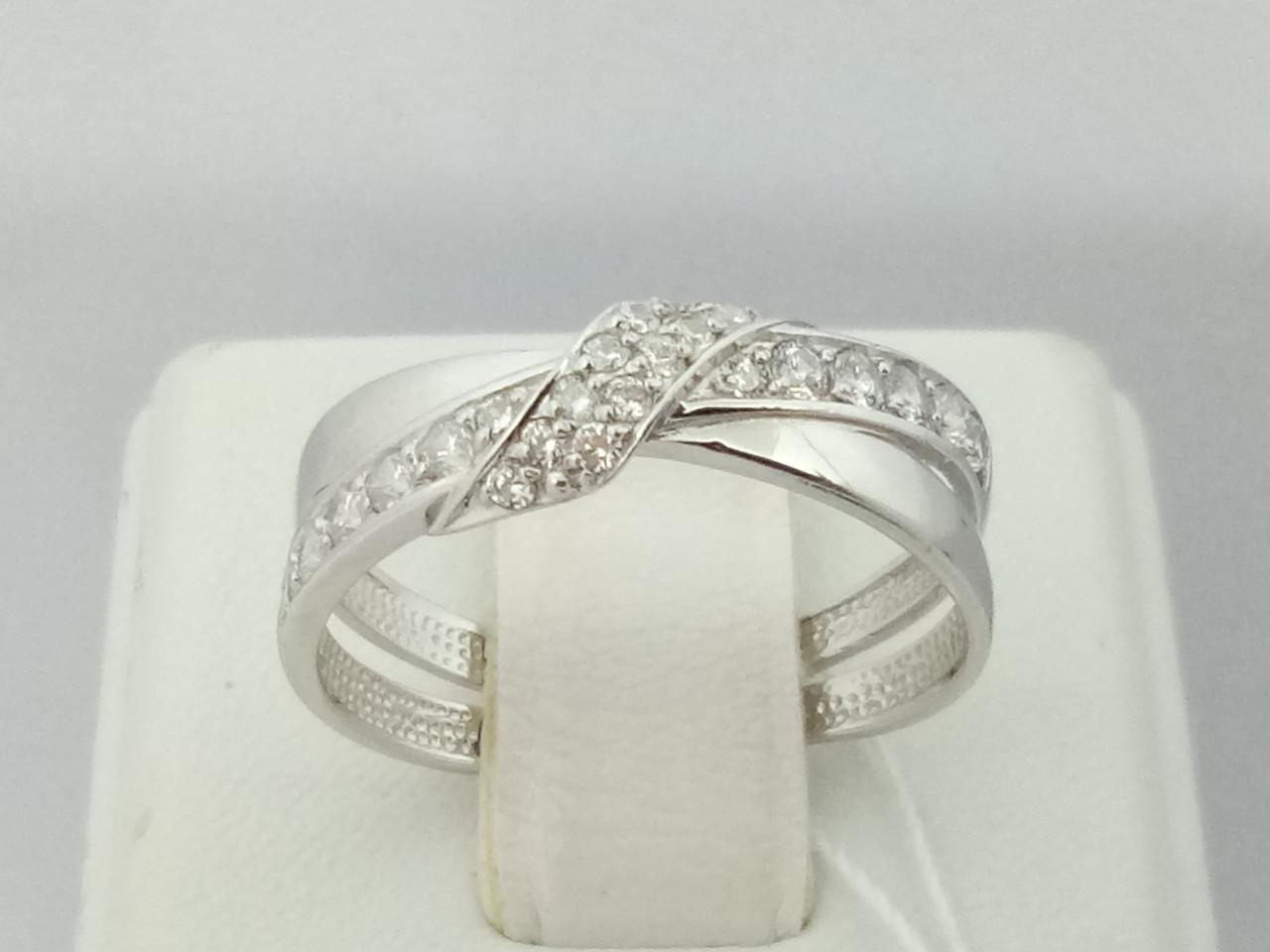 Серебряное кольцо с фианитами. Артикул 13807-Р 17,5
