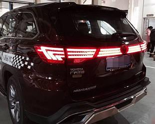 Фонари LED вставка тюнинг оптика Toyota Highlander XU50 стиль Лексус