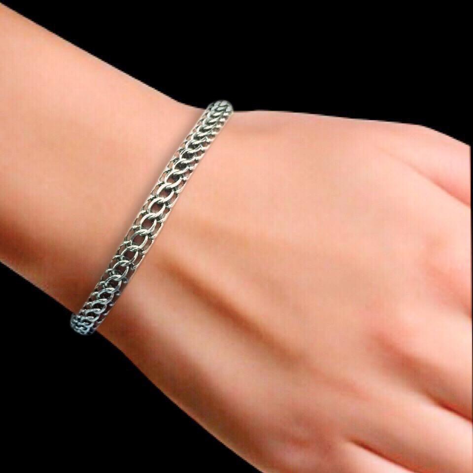 Срібний браслет, 210мм, 11 грамів, Пітон, чорніння
