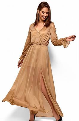 (S, M) Вечірнє бежевий плаття-максі Goldy