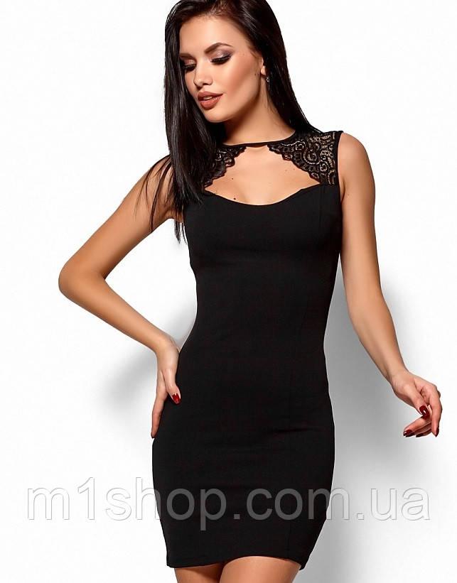 Женское короткое платье-футляр без рукавов (Флоренсkr) Черный