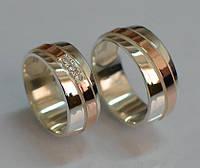 Комплект серебряных обручальных колец (Обр1819)
