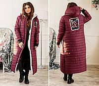 Женское стеганое длинное пальто из плащевки,  батал