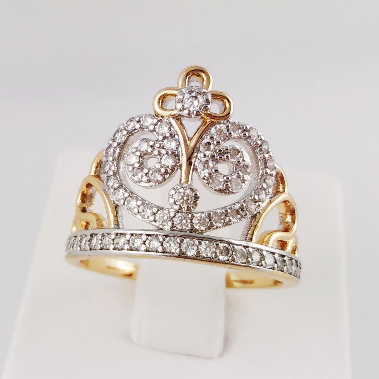 "Кольцо Xuping Jewelry  ""Корона для леди"" размер 19, медицинское золото, позолота 18К + родий. А/В 1947"
