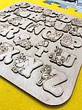 Англійська абетка-пазл, фанера, т. 8 мм, розмір 30х30 см. TERMOIZOL®, фото 2