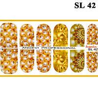 Наклейки для Ногтей Ноготки PhotonailArt Водные Разноцветные, Малая Пластина, Angevi SL 42