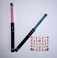 Маникюрная кисточка тонкая для рисования ногтей + новгодние наклейки в подарок