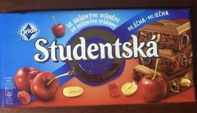 Шоколад Studentska - молочный шоколад с арахисом, кусочками вишни и желе, 180г. Чехия.
