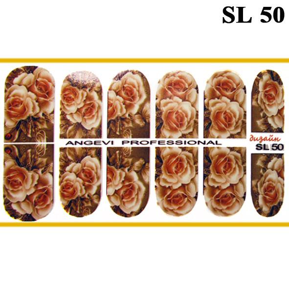 Наклейки цветы Розы для Ногтей Ноготки PhotonailArt Водные Разноцветные, Малая Пластина, Angevi SL 50