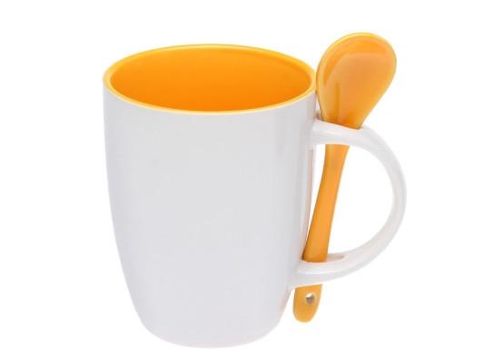 Керамическая чашка с ложкой