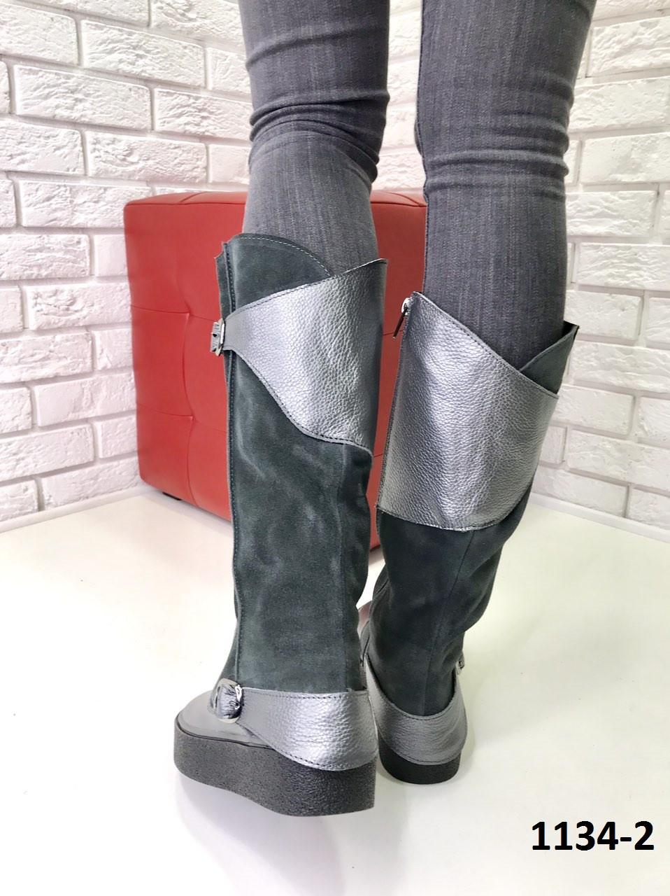 2f7f6b444513 Женские замшевые сапоги со вставками кожи еврозима серые