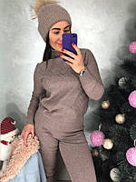 Коричневый меланжевый вязаный костюм, фото 1