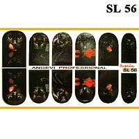 Наклейки Черные Коты для Ногтей Ноготки PhotonailArt Водные Разноцветные, Малая Пластина, Angevi SL 56