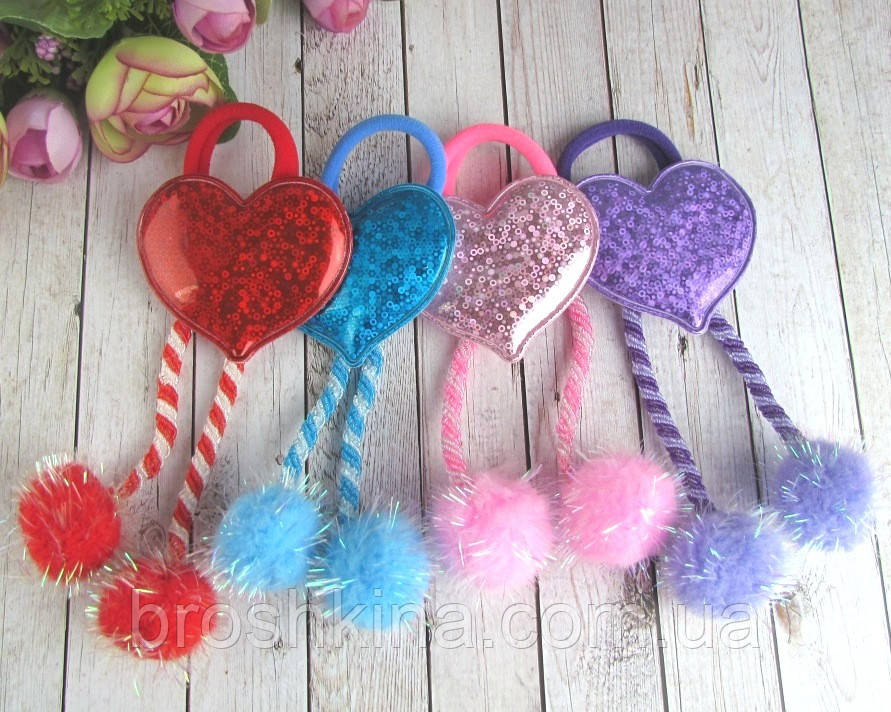 Детские резинки для волос с помпонами Сердечки голограмма 12 шт/уп