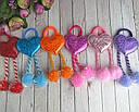 Детские резинки для волос с помпонами Сердечки голограмма 12 шт/уп, фото 2