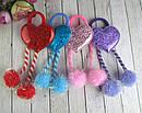Детские резинки для волос с помпонами Сердечки голограмма 12 шт/уп, фото 4