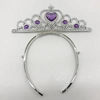 Корона для принцессы пластиковая с камушками для принцессы (разноцветные камушки)- Фиолетовые