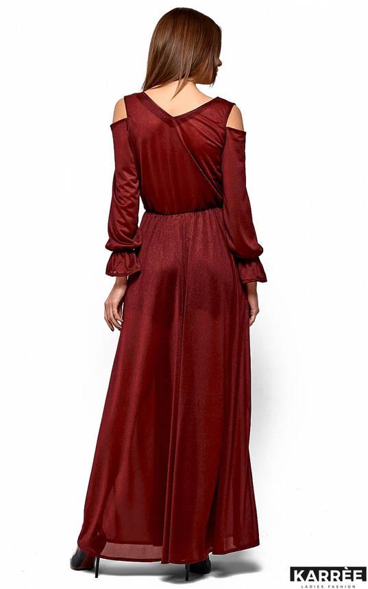 Шифоновое платье в пол с запахом из трикотажа с люрексом бордо, фото 2