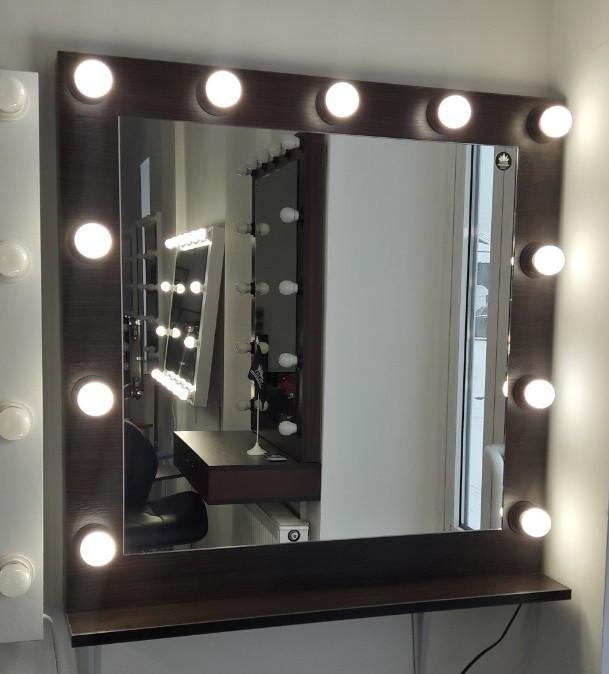Гримерное зеркало, с лампочками в цвете венге