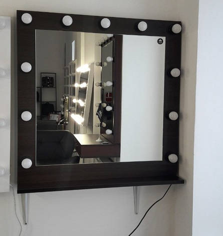 Гримерное зеркало, с лампочками в цвете венге, фото 2