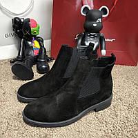 Ботинки зимние на термо носке, черные (реплика), фото 1