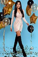 Сияющее Серебристое Платье Мини Нарядное на Запах Персиковое S-XL, фото 1