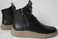 Gross стильные зимние мужские ботинки кожа  модные сапоги змейка, фото 1