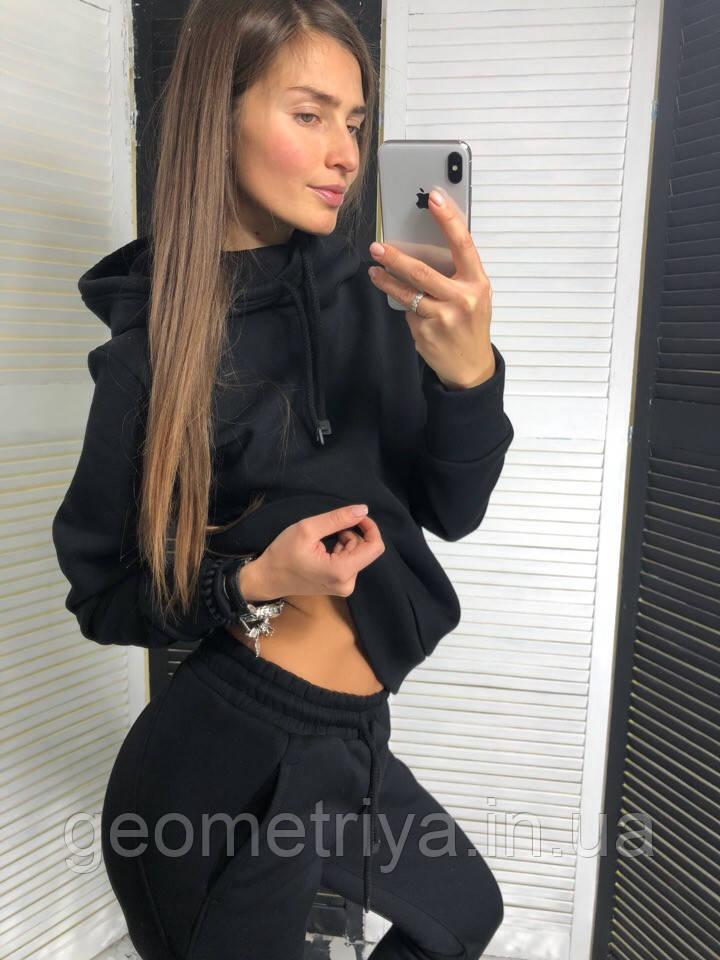 9f026a6d Теплый женский спортивный костюм на флисе черного цвета: продажа ...