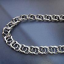 Серебряная цепочка, 600мм, 17 грамм, Арабский бисмарк, чернение, фото 3