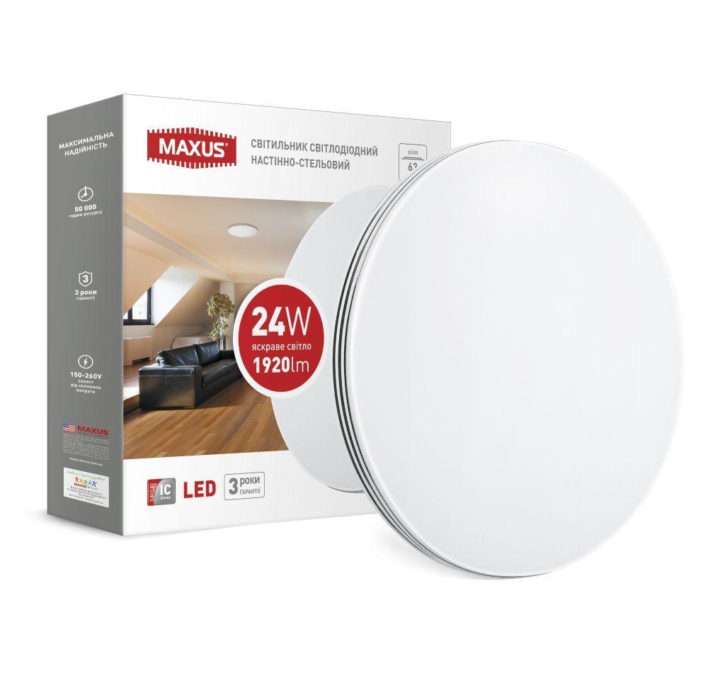 Светодиодный настенно-потолочный светильник MAXUS 1-MAX-02-LCL-2441-C 24W 4100K Круг