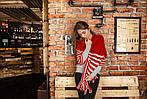 Жіночий кашеміровий шарф колір червоний, фото 6