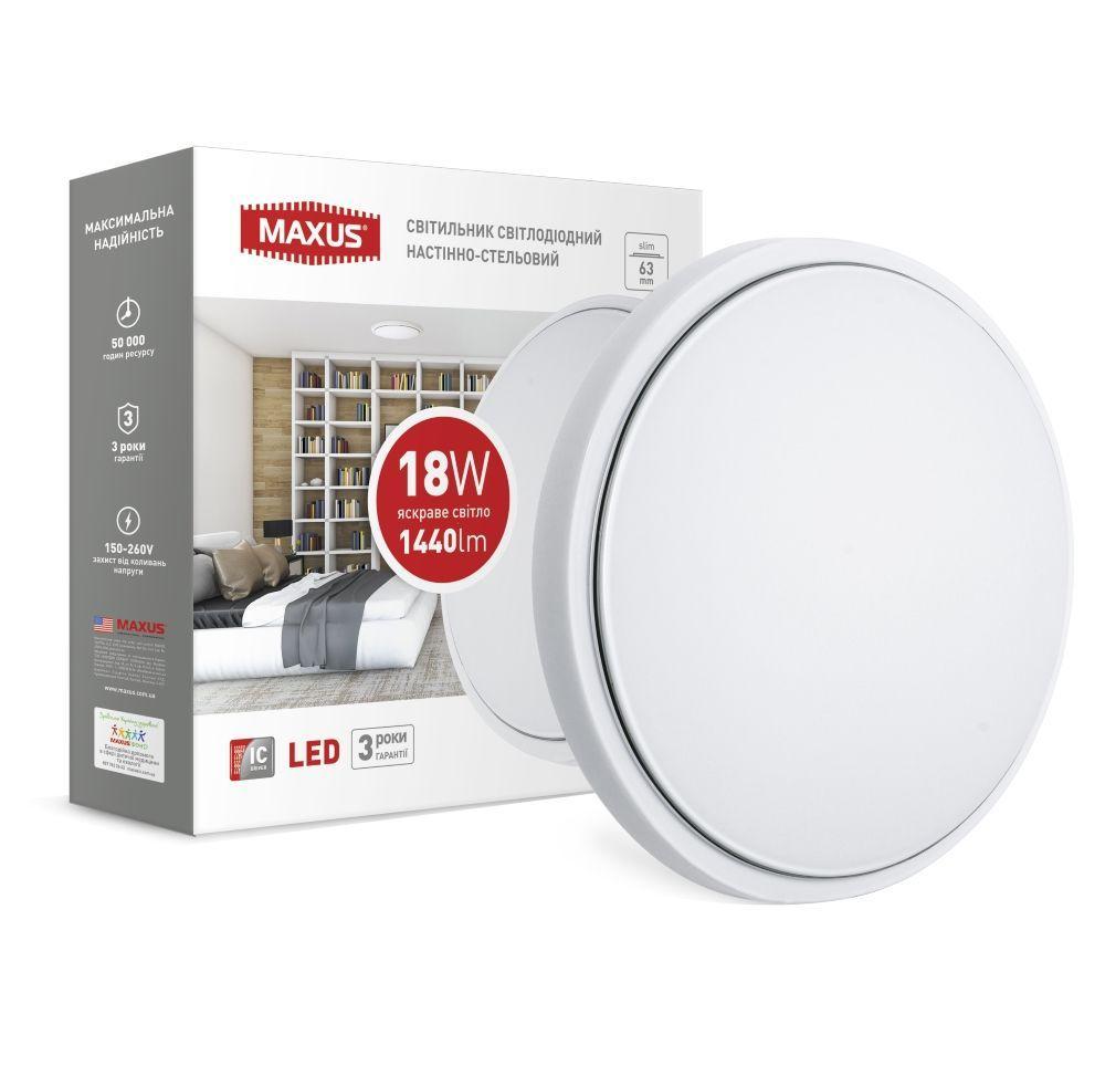 Світлодіодний настінно-стельовий світильник MAXUS 1-MAX-03-LCL-1841-C 18W 4100K Коло